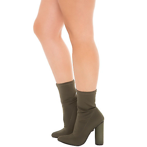 Cape Robbin Paw-1 High Heel Ankle Boots Green