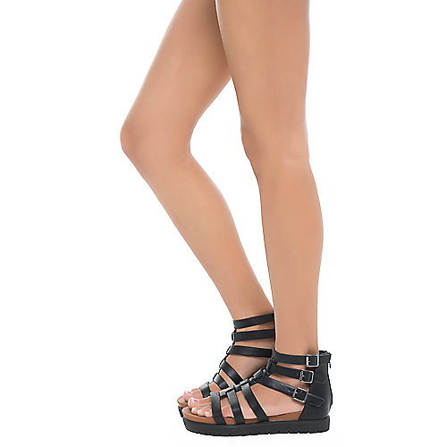 Bamboo Dewey-25S Strappy Flat Sandals Black
