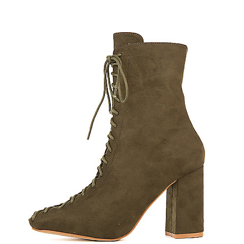 Cape Robbin Betisa-6 High Heel Ankle Boots Green