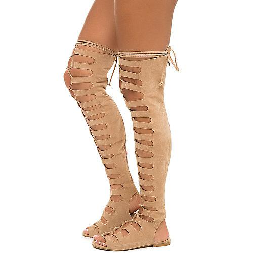 Cape Robbin Jovena-1 Gladiator Lace-Up Sandals Natural Gladiator Sandals
