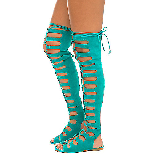 Cape Robbin Jovena-1 Gladiator Lace-Up Sandals Turquoise Gladiator Sandals