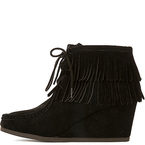 Shiekh Women's Inout-S Wedge Fringe Ankle Boot Black Wedge Boots