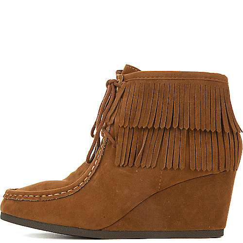 Shiekh Women's Inout-S Wedge Fringe Ankle Boot Tan Wedge Boots