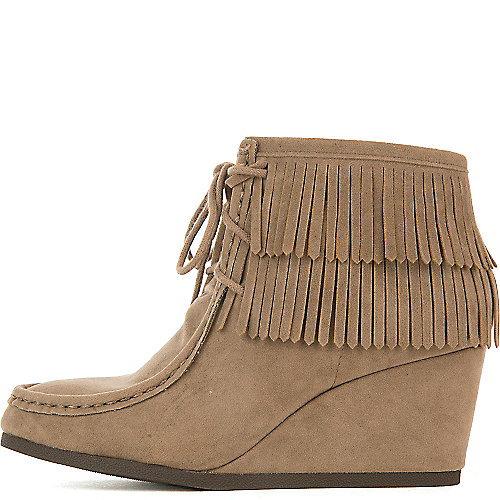 Shiekh Women's Inout-S Wedge Fringe Ankle Boot Taupe Wedge Boots