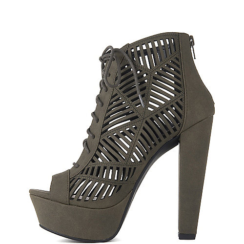 Delicious Zamora-H High Heel Lace-Up Sandals Green
