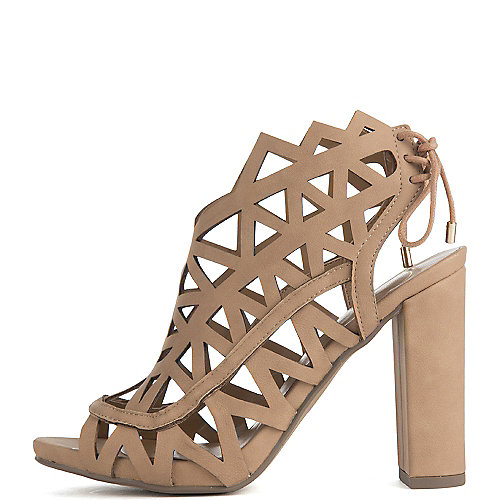 Delicious Shawna Lace-up Sandals Beige Slingback Sandals