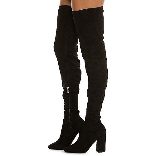 Cape Robbin Women's Betisa-4 Thigh-High Boot Black Knee-High Boots