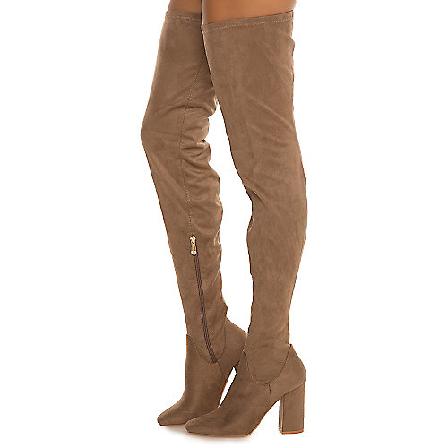 Cape Robbin Women's Betisa-4 Thigh-High Boot Taupe Thigh-High Boots
