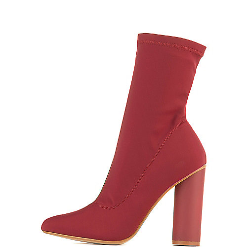 Cape Robbin Paw-1 High Heel Ankle Boots Burgundy