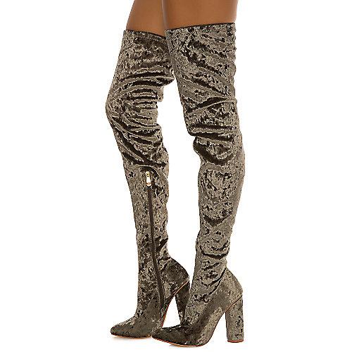 Cape Robbin Women's Paw-27 Thigh-High Boot Green Thigh-High Boots