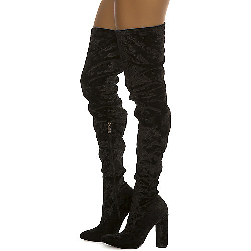 Cape Robbin Paw-27 Thigh-High Boots Black