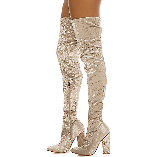 Cape Robbin Paw-27 Thigh-High Boots Grey