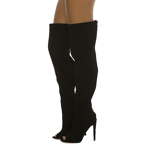 Cape Robbin Women's Libby-1 Thigh-High Boot Black Thigh-High Boots