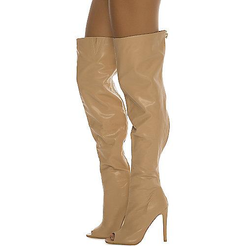 Cape Robbin Libby-1 Thigh-High Boots Natural