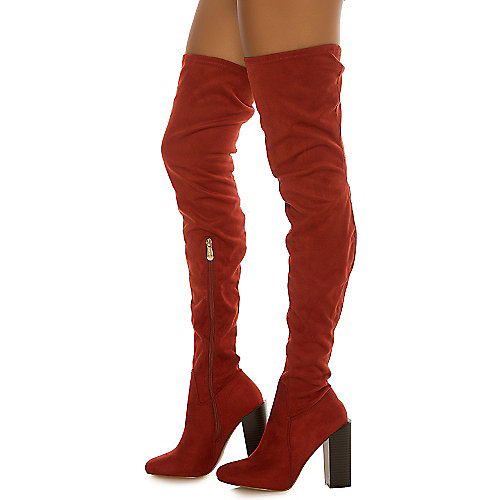 Cape Robbin Colorways-3 Thigh-High Boots Red