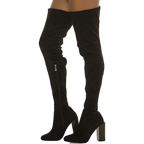 Cape Robbin Colorways-3 Thigh-High Boots Black