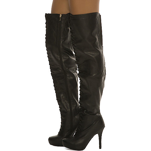 Dollhouse Women's Pretense Thigh High Boot Black Thigh-High Boots