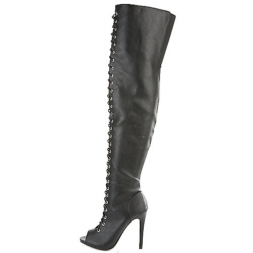 Dollhouse Women's Shallow Thigh-High Boot Black Thigh-High Boots