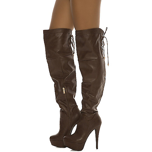 Dollhouse Knee-High Boots Jasmin Brown