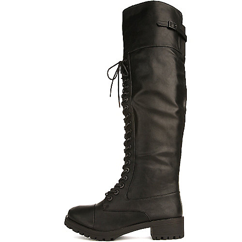 Dollhouse Women's Commander Knee-High Combat Boot Black Combat Boots