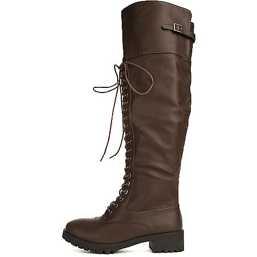 Dollhouse Women's Commander Knee-High Combat Boot Brown Combat Boots
