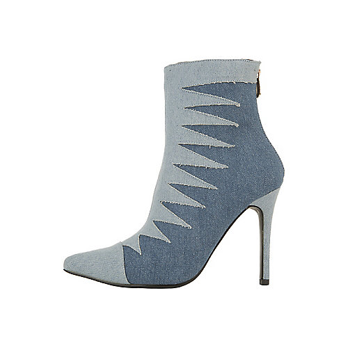 Cape Robbin Mini-55 High Heel Ankle Boots Blue