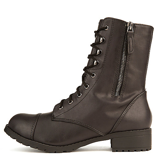 Soda Women's Footer-S Lace-Up Combat Boot Black Combat Boots