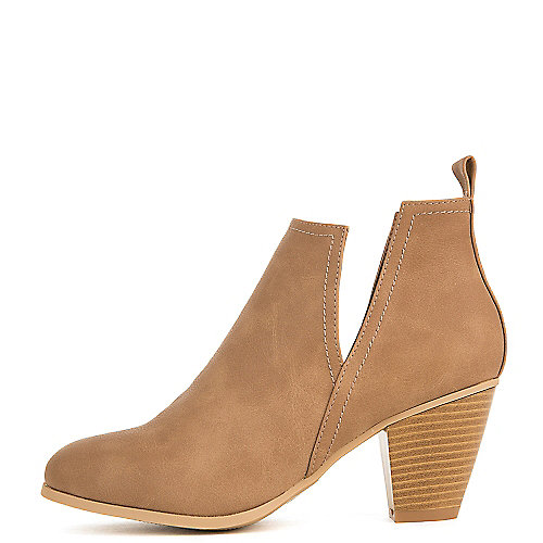 Nature Breeze Saddle-03 Low Heel Ankle Booties Tan