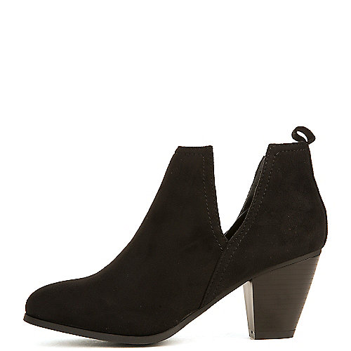 Nature Breeze Women's Saddle-03 Low Heel Ankle Bootie Black Ankle Boots