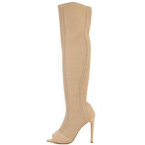 Cape Robbin Elnora-27 Thigh-High Boots Natural