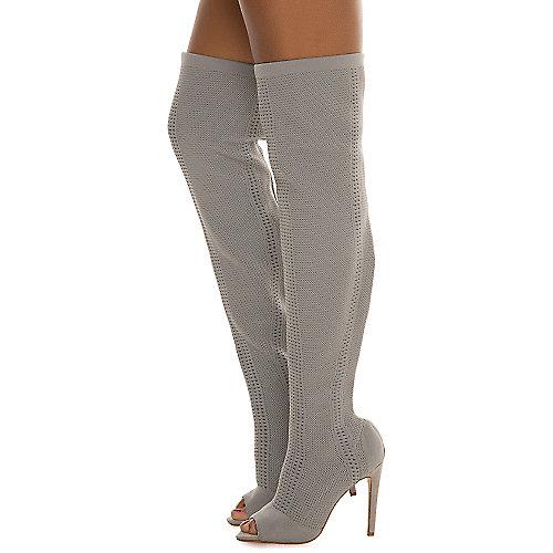 Cape Robbin Elnora-27 Thigh-High Boots Grey