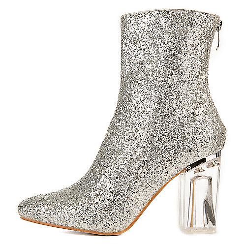 Cape Robbin Nina-6 Mid-Calf High Heel Boots Silver