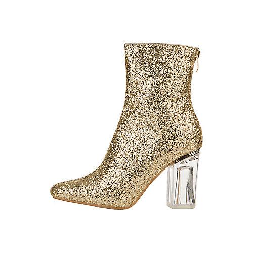 Cape Robbin Nina-6 Mid-Calf High Heel Boots Gold