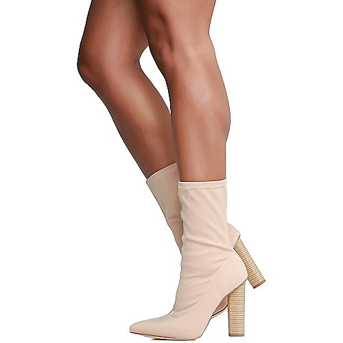 Cape Robbin Connie-5 High Heel Ankle  Natural