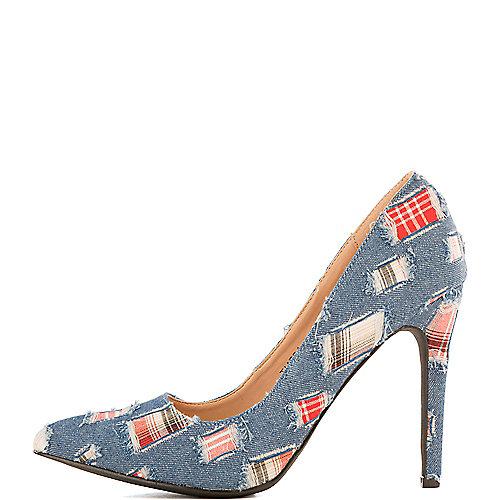 Cape Robbin Tiarra-1 Denim High Heel Pump Blue Pump Shoes