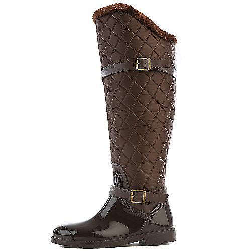 Bamboo Women's Stormy Fur Rain Boot Brown Fur Boots