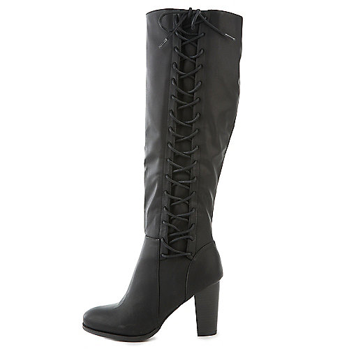 Bamboo Cheek-08S Knee-High Lace-Up Boots Black