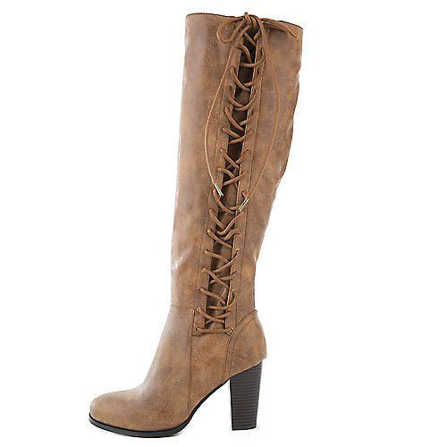 Bamboo Cheek-08S Knee-High Lace-Up Boots Tan