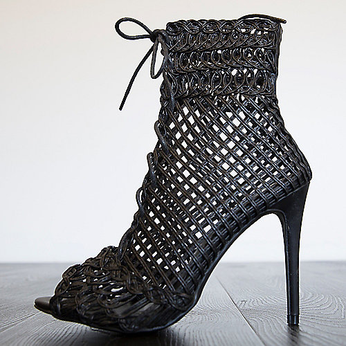 Liliana Lyza-1 High Heel Lace-Up Sandals Black