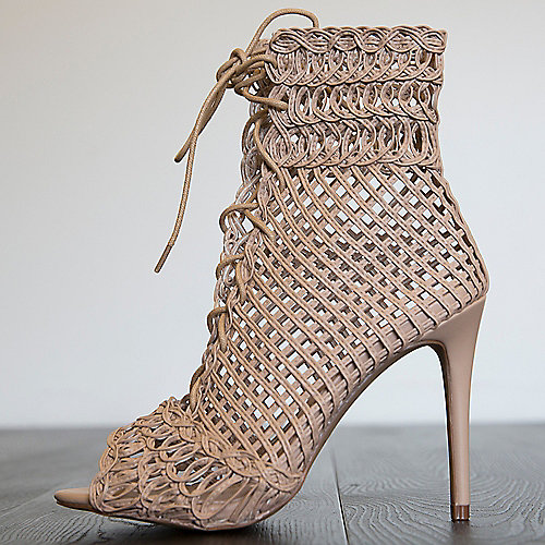 Liliana Lyza-1 High Heel Lace-Up Sandals Natural