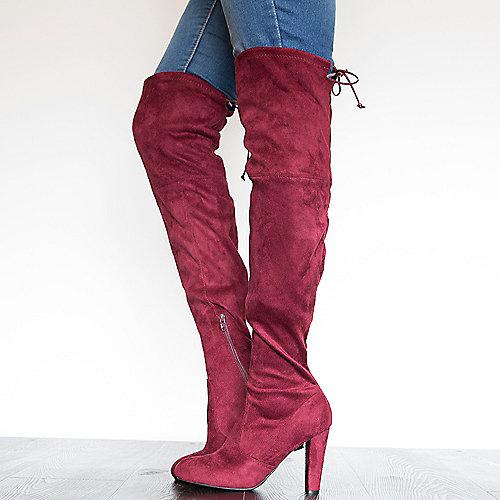 Wild Diva Amaya-01 High Heel Lace-Up Boots Burgundy