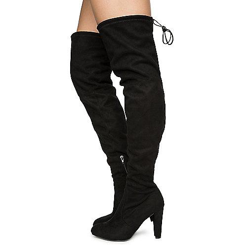 Wild Diva Amaya-01 High Heel Lace-Up Boots Black