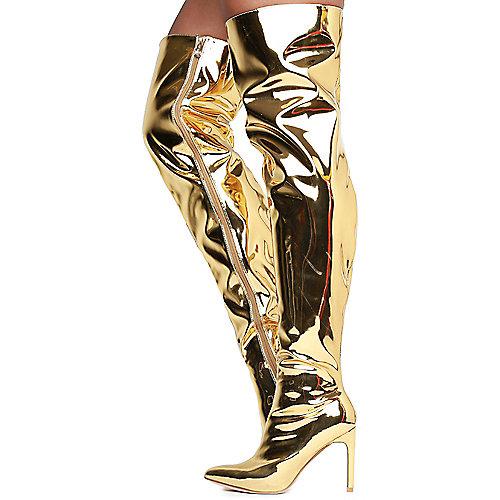 Cape Robbin Mini-80 Thigh High Boots Gold