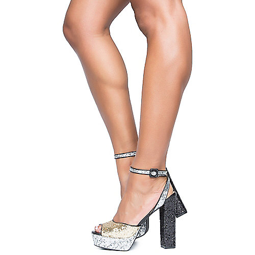 Cape Robbin Jack-1 High Heel Glitter Dress Shoe Gold Platform Shoes