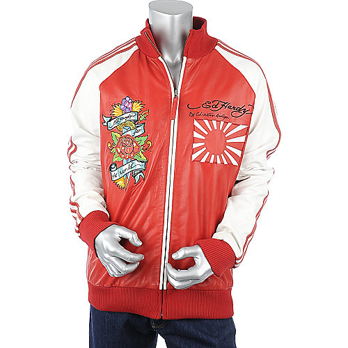 Ed Hardy Mens Japan Flag Leather Jacket
