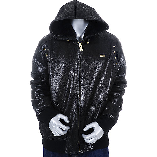 Sean John Mens Leather Hooded Jacket