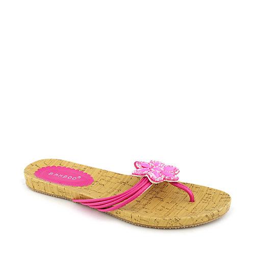 Bamboo Step-07 Fuschia Jeweled Sandals