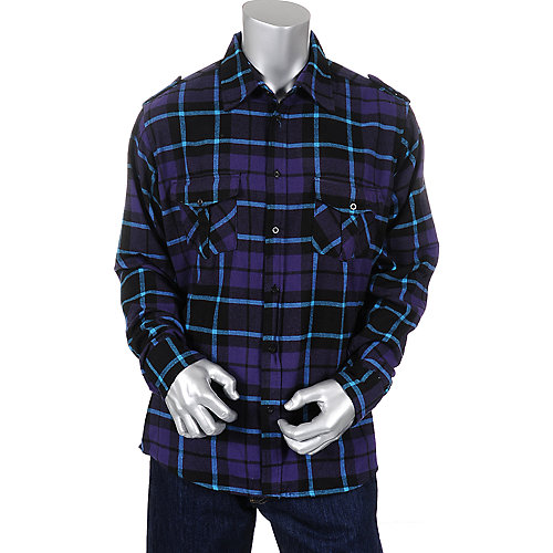 Shiekh Mens Long Sleeve Plaid Shirt