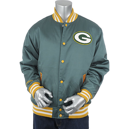 Mitchell and Ness Mens Green Bay Packers Screen Pass Satin Jacket