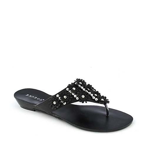 Bamboo Poppy-32 Thong Flip Flop Sandals Black